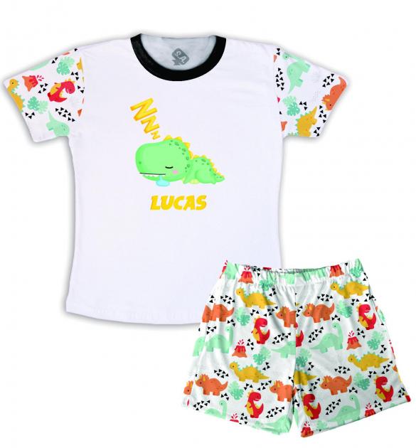 Pijama Masculino Infantil De Malha Dinossauro