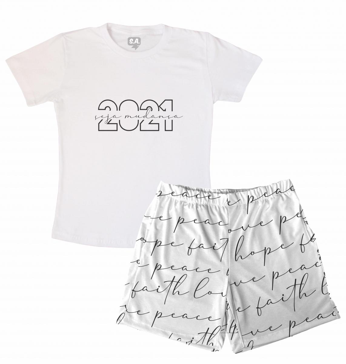 Pijama Masculino Malha Tema Ano Novo 2021- Seja Mudança