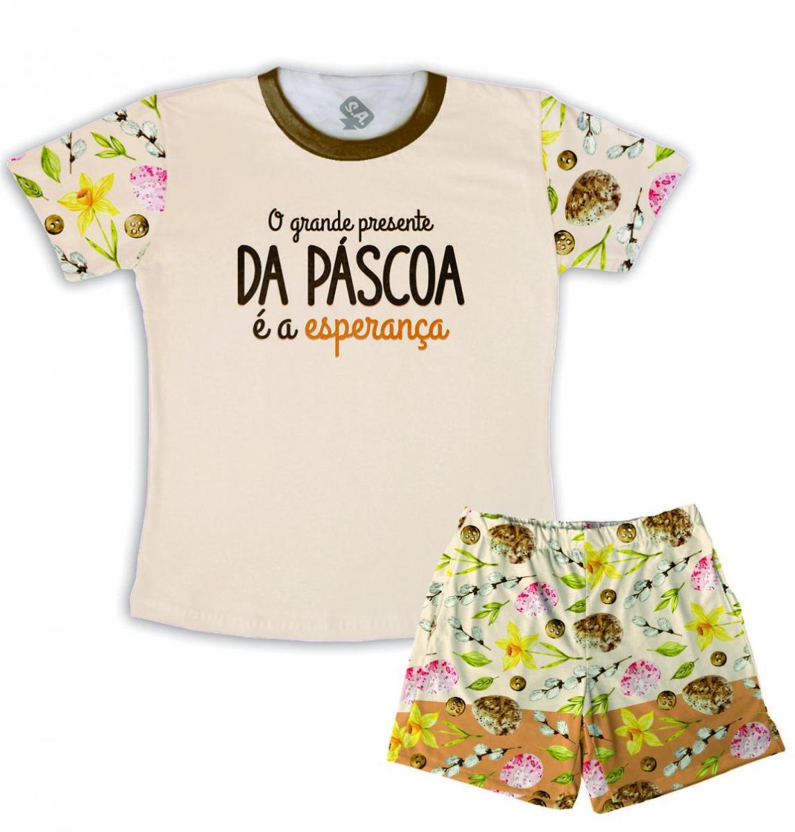 Pijama Masculino Malha Tema Páscoa Esperança