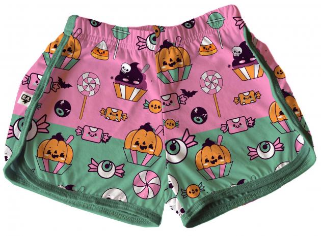 Short Tactel Feminino Adulto Verão Halloween Rosa e Verde Doces