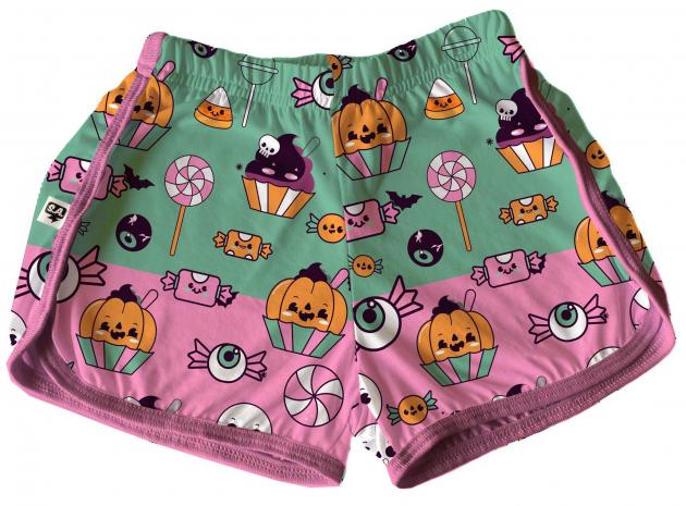 Short Tactel Feminino Adulto Verão Halloween Verde E Rosa Doces