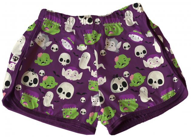 Short Tactel Feminino Infantil Halloween Monstrinho Roxo