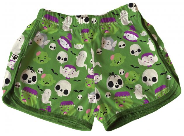 Short Tactel Feminino Infantil Halloween Monstrinho Verde