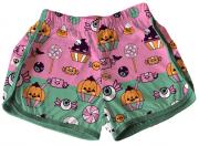 Short Tactel Feminino Infantil Halloween Rosa e Verde Doces