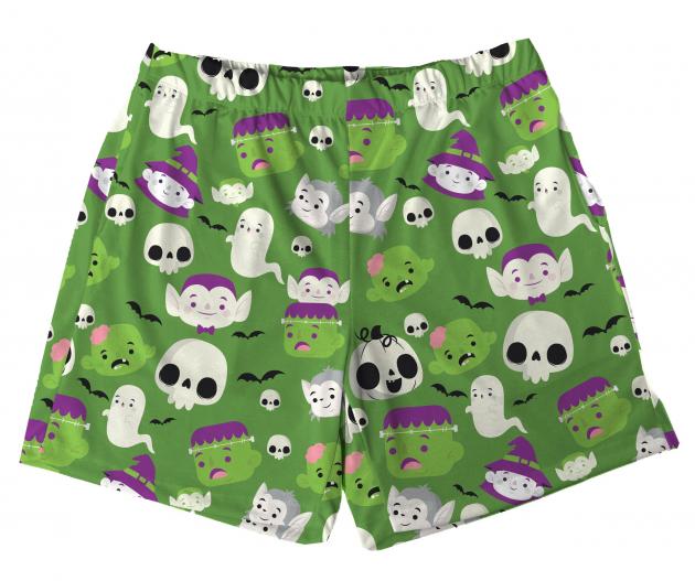 Short Tactel Masculino Adulto Halloween Monstrinho Verde