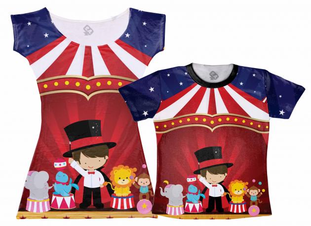 Vestido e Camiseta Circo